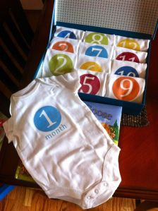 12 months of onesies: on Pintrest.