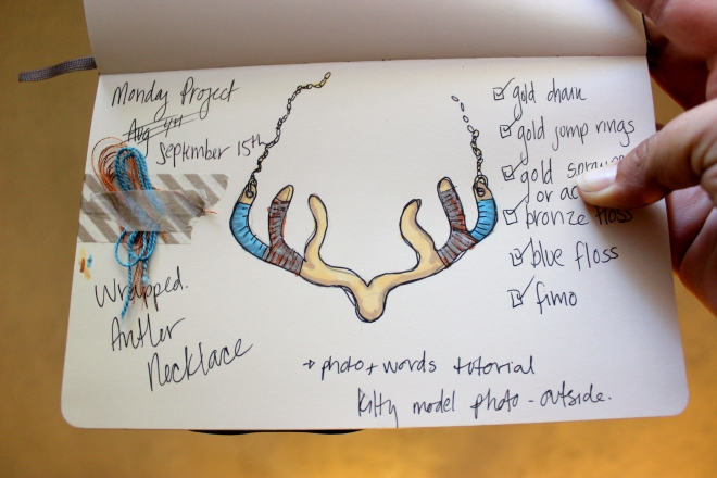 Sweet Little Wood Craft Project planning sketch, antler necklace