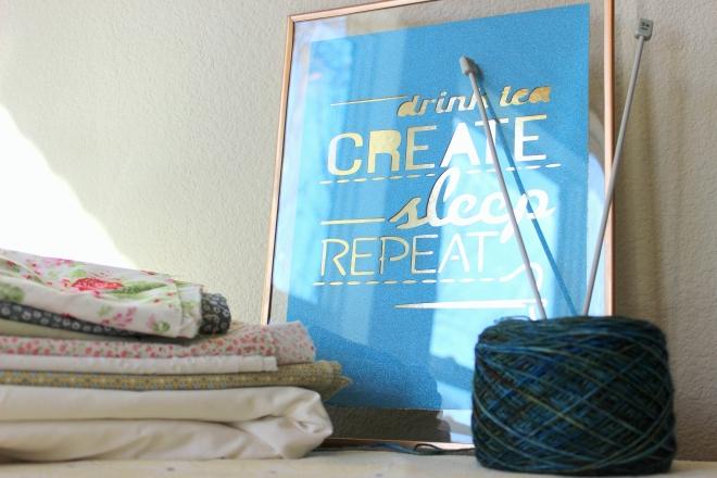 """Drink tea, Create, Sleep Repeat"" float frame poster tutorial @ Sweet Little Wood"